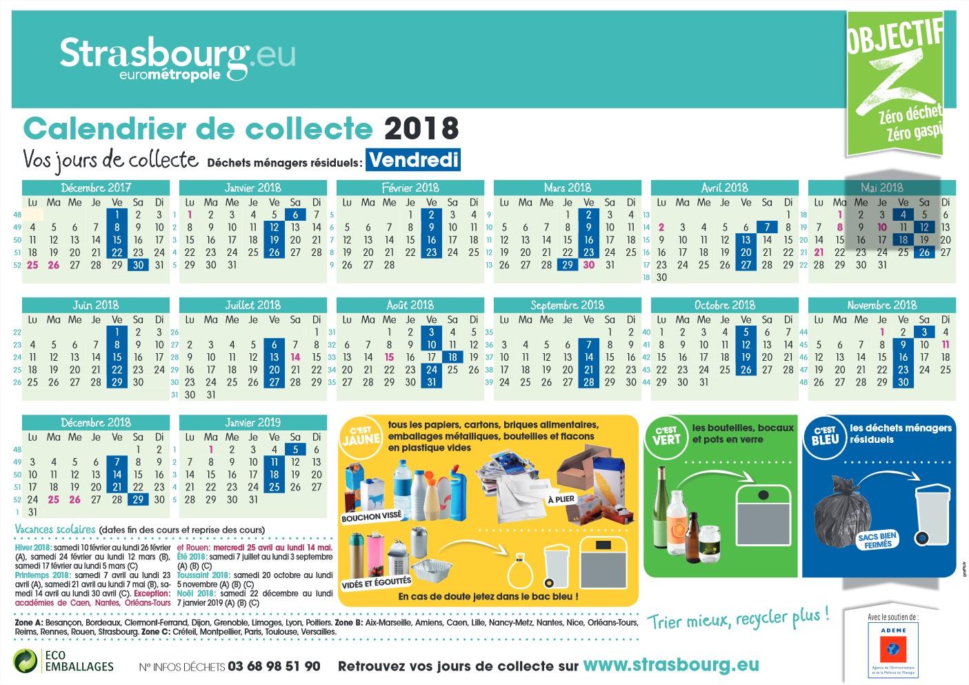 EMS calendrier collecte 2018