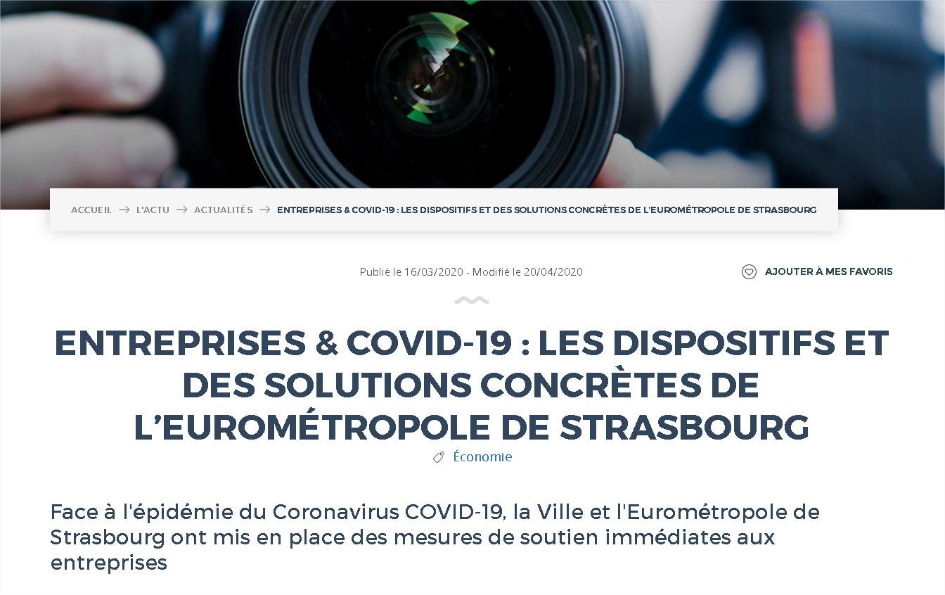 Entreprises & COVID19  les dispositifs et des solutions concrètes de l'Eurométropole de Strasbourg  Entreprises & COVID19  les dis