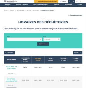 Horaires des déchèteries  Strasbourg.eu et 1 page supplémentaire - Profil1 – Microsoft Edge